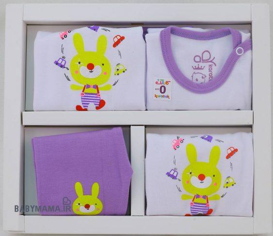 ست ۵ تیکه نوزادی پنبه کاراتک مدل Rabbit |