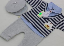 سرهمی نوزادی کلاهدار پنبه BabyDoll مدل راه راه