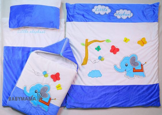 سرویس خواب مخمل 4 تیکه نوزادی مدل فیل و درخت