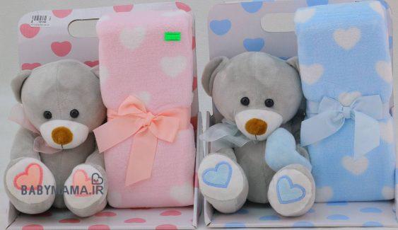 پتو عروسک دار نوزادی مدل خرس