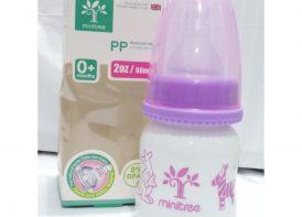 بطری شیرخوری ۱۸۰ میلی لیتری minitree مدل دهانه عادی مات
