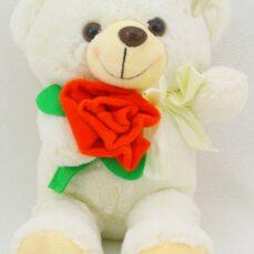 عروسک خرس 25 سانتی متری مدل گل به دست