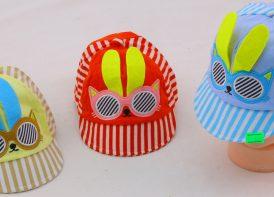 کلاه لبه دار نوزادی خرگوش مدل راه راه