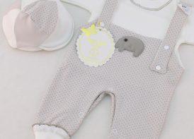 سرهمی نوزادی سه تیکه پیش بندی هلما مدل فیل