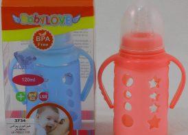 شیشه شیر ۱۲۰ میلی لیتری محافظ دار پیرکس baby love