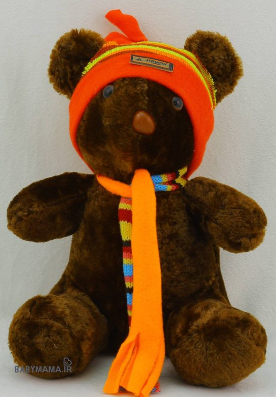 عروسک خرس 25 سانتی متری مدل شالدار