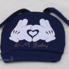 کلاه گرد Em Baby مدل قلب سرمه ای