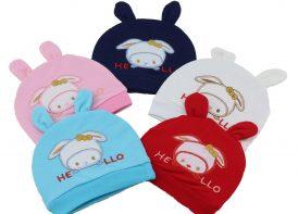 کلاه گرد گوشدار گلدوزی em baby مدل خرگوش
