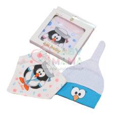 ست کلاه و دستمال گردن em baby چاپی پنگوئن