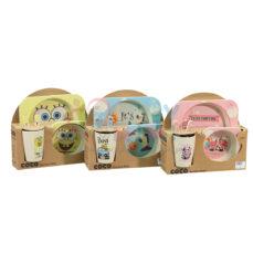 ظرف غذای کودک بامبو مربع مدل طرحدار